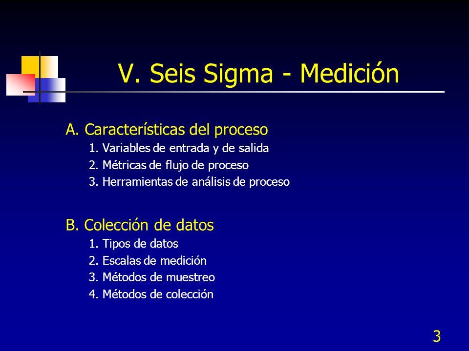 3 V. Seis Sigma - Medición A. Características del proceso 1. Variables de entrada y de salida 2. Métricas de flujo de proceso 3. Herramientas de análi