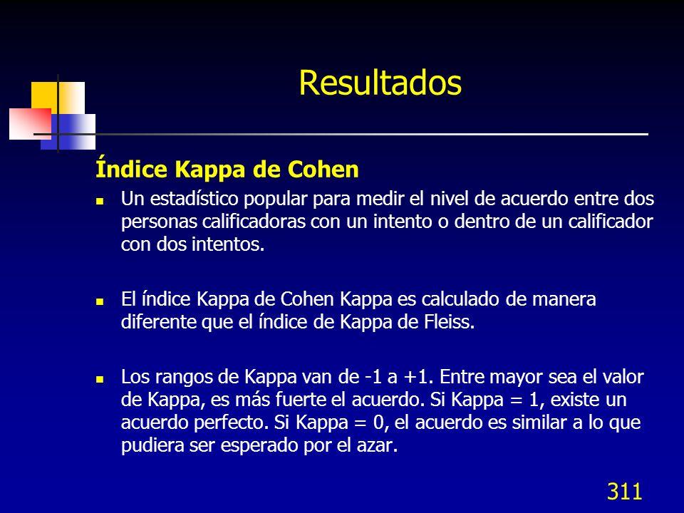 311 Resultados Índice Kappa de Cohen Un estadístico popular para medir el nivel de acuerdo entre dos personas calificadoras con un intento o dentro de