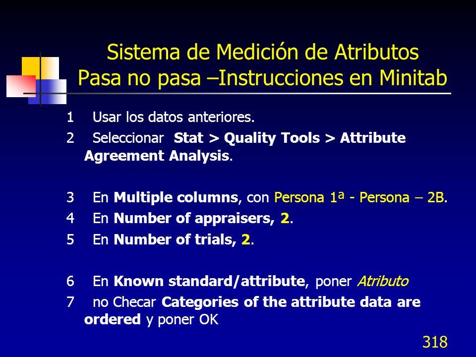318 Sistema de Medición de Atributos Pasa no pasa –Instrucciones en Minitab 1 Usar los datos anteriores. 2 Seleccionar Stat > Quality Tools > Attribut