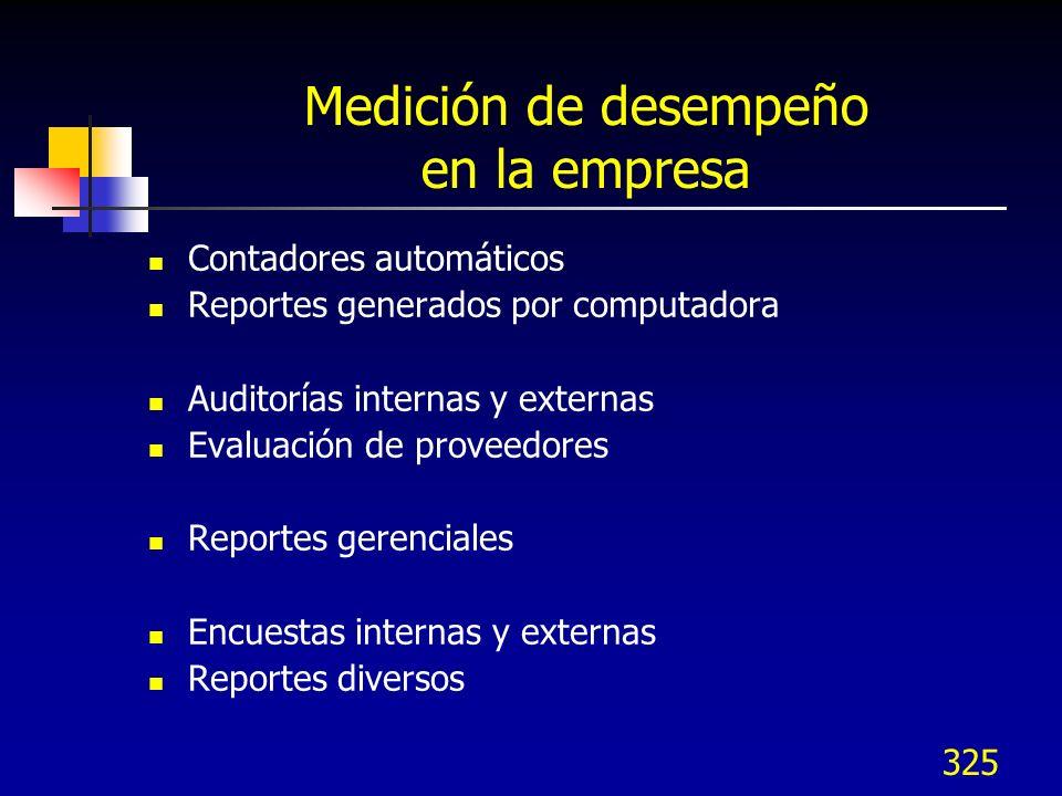 325 Medición de desempeño en la empresa Contadores automáticos Reportes generados por computadora Auditorías internas y externas Evaluación de proveed