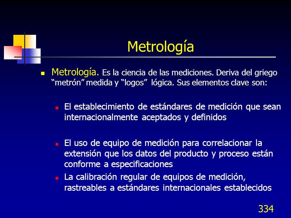 334 Metrología Metrología. Es la ciencia de las mediciones. Deriva del griego metrón medida y logos lógica. Sus elementos clave son: El establecimient