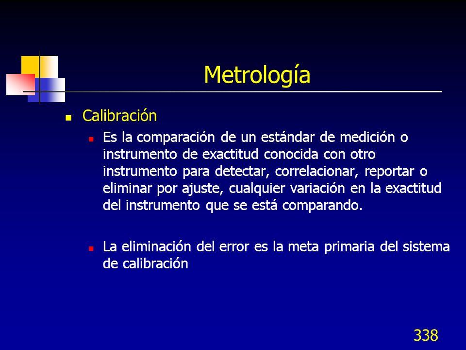 338 Metrología Calibración Es la comparación de un estándar de medición o instrumento de exactitud conocida con otro instrumento para detectar, correl