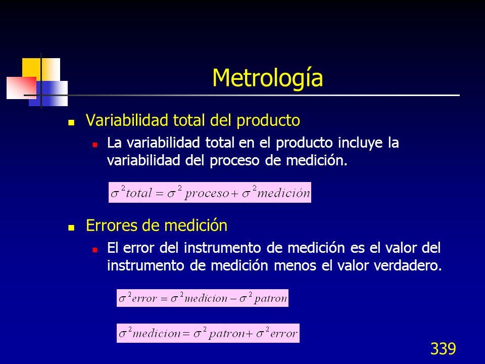 339 Metrología Variabilidad total del producto La variabilidad total en el producto incluye la variabilidad del proceso de medición. Errores de medici