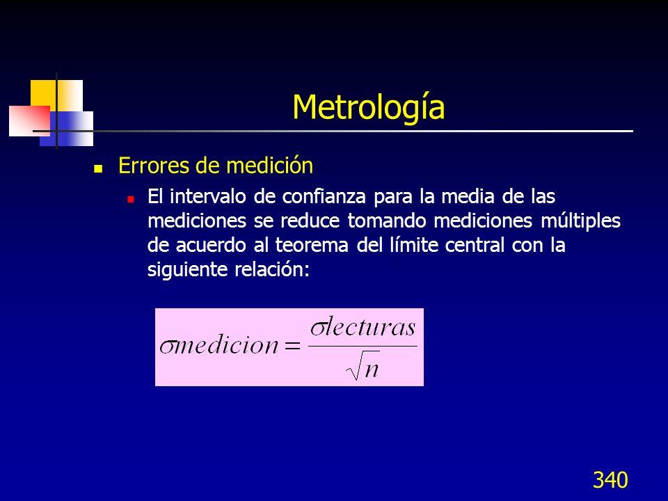 340 Metrología Errores de medición El intervalo de confianza para la media de las mediciones se reduce tomando mediciones múltiples de acuerdo al teor