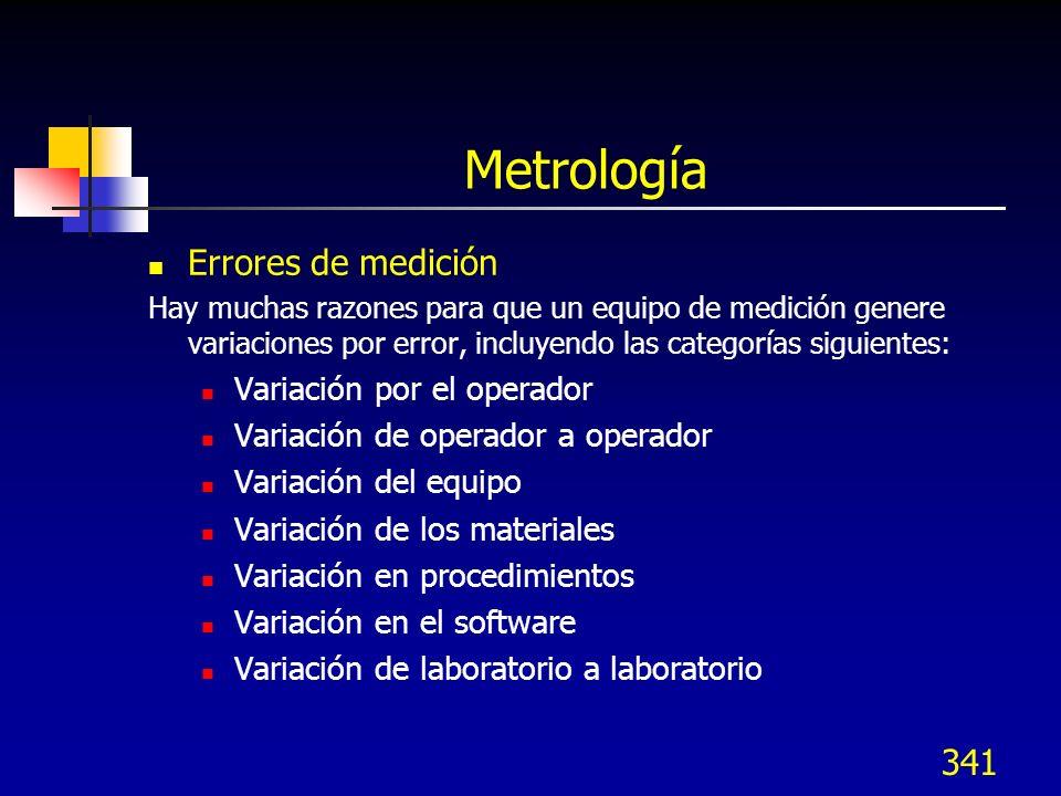 341 Metrología Errores de medición Hay muchas razones para que un equipo de medición genere variaciones por error, incluyendo las categorías siguiente
