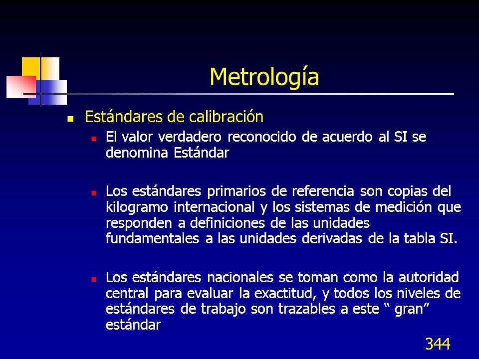 344 Metrología Estándares de calibración El valor verdadero reconocido de acuerdo al SI se denomina Estándar Los estándares primarios de referencia so