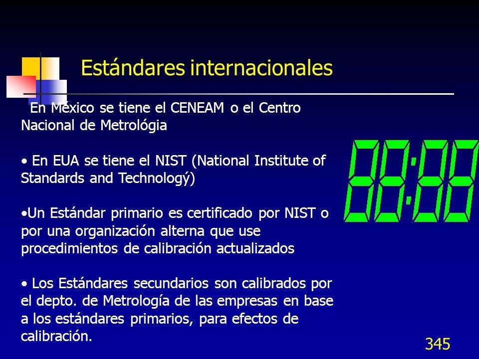 345 Estándares internacionales En México se tiene el CENEAM o el Centro Nacional de Metrológia En EUA se tiene el NIST (National Institute of Standard
