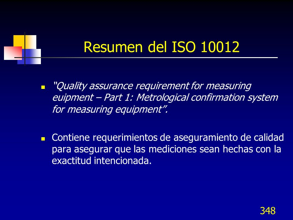 348 Resumen del ISO 10012 Quality assurance requirement for measuring euipment – Part 1: Metrological confirmation system for measuring equipment. Con