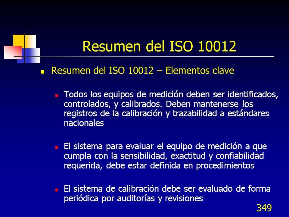 349 Resumen del ISO 10012 Resumen del ISO 10012 – Elementos clave Todos los equipos de medición deben ser identificados, controlados, y calibrados. De