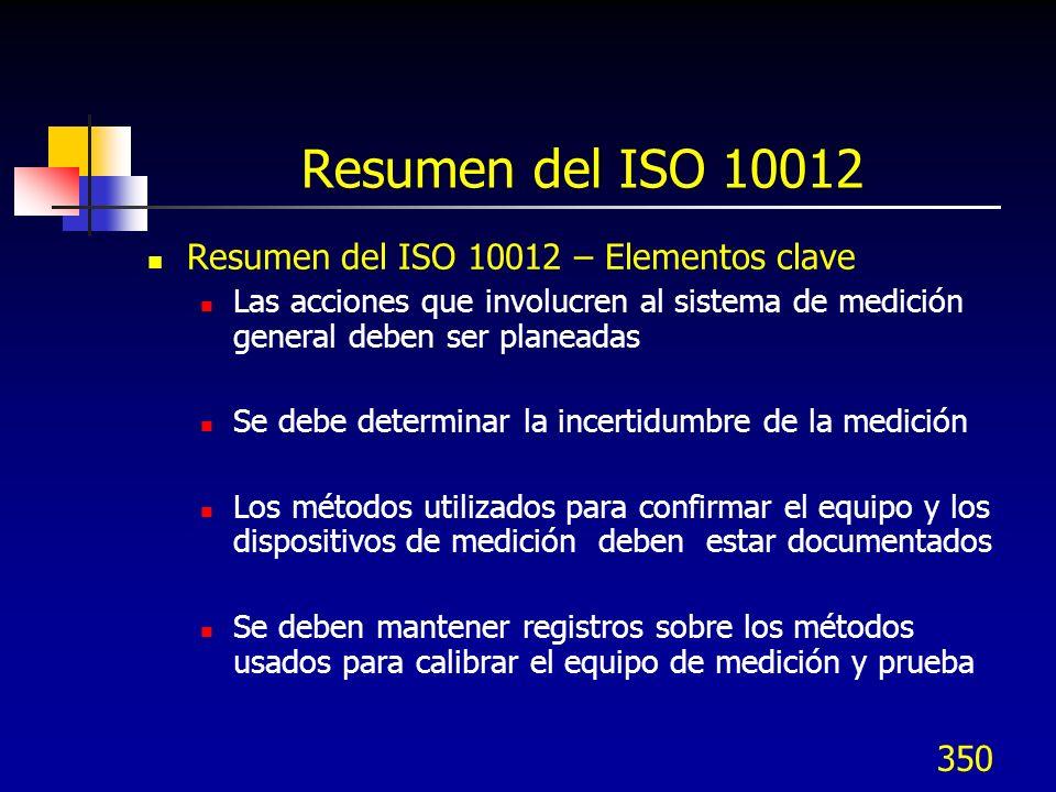 350 Resumen del ISO 10012 Resumen del ISO 10012 – Elementos clave Las acciones que involucren al sistema de medición general deben ser planeadas Se de