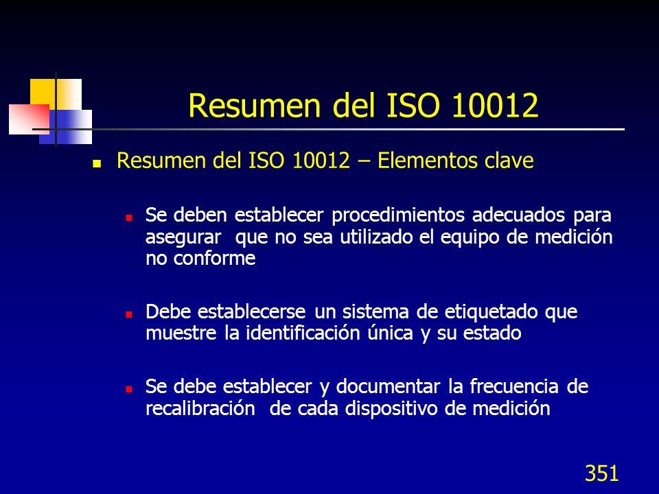 351 Resumen del ISO 10012 Resumen del ISO 10012 – Elementos clave Se deben establecer procedimientos adecuados para asegurar que no sea utilizado el e
