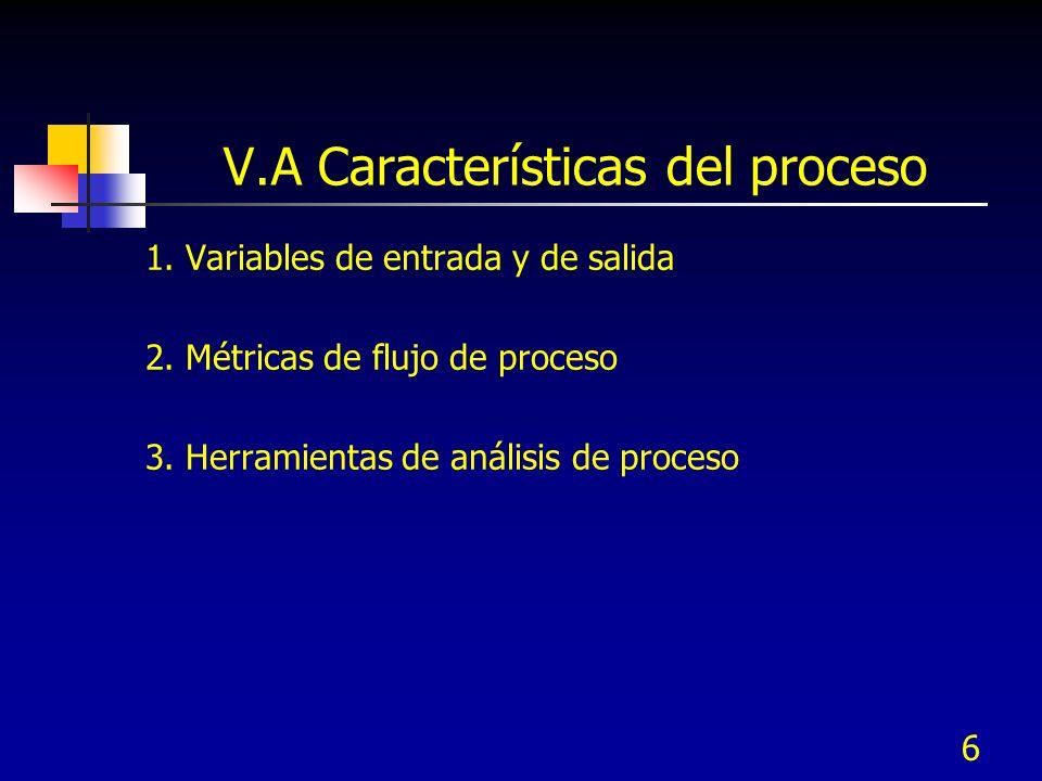 6 1. Variables de entrada y de salida 2. Métricas de flujo de proceso 3. Herramientas de análisis de proceso