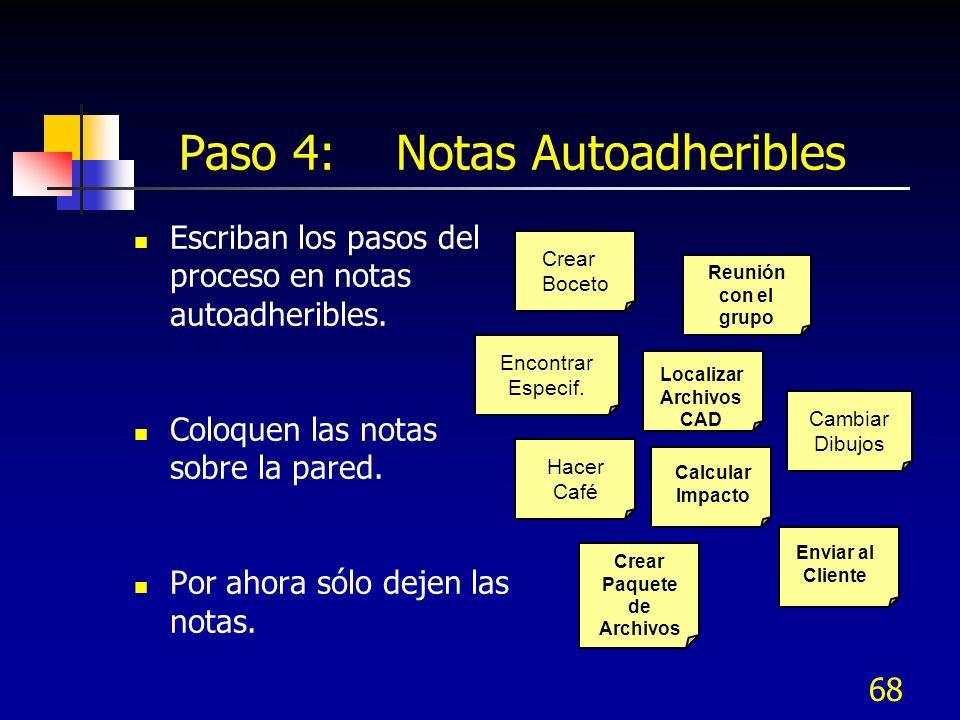 68 Paso 4: Notas Autoadheribles Escriban los pasos del proceso en notas autoadheribles. Coloquen las notas sobre la pared. Por ahora sólo dejen las no