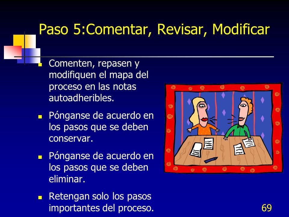 69 Paso 5:Comentar, Revisar, Modificar Comenten, repasen y modifiquen el mapa del proceso en las notas autoadheribles. Pónganse de acuerdo en los paso