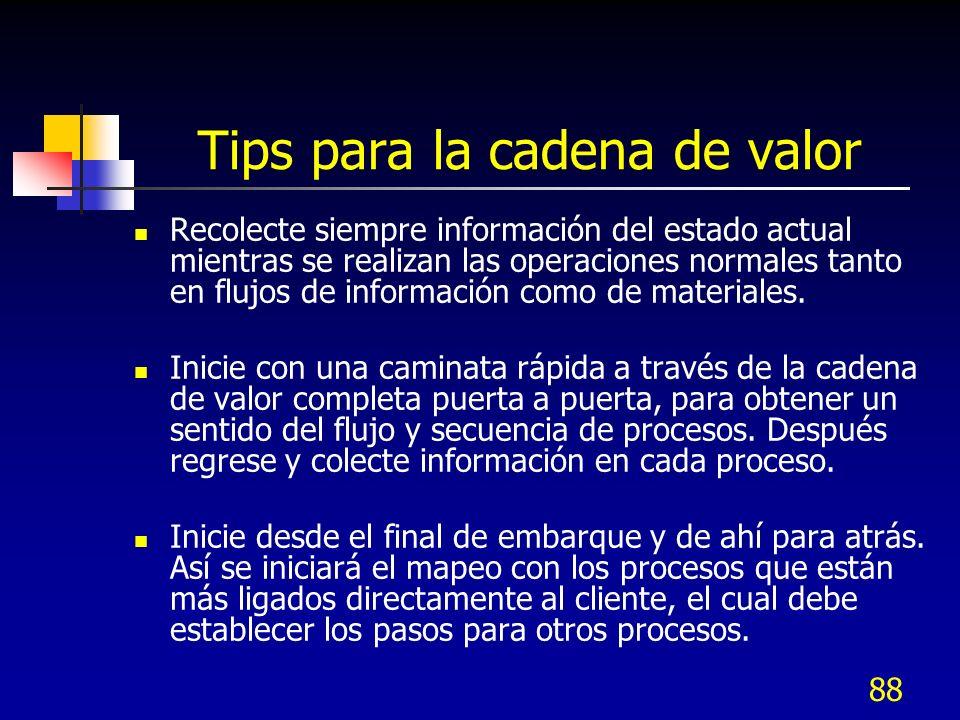 88 Tips para la cadena de valor Recolecte siempre información del estado actual mientras se realizan las operaciones normales tanto en flujos de infor