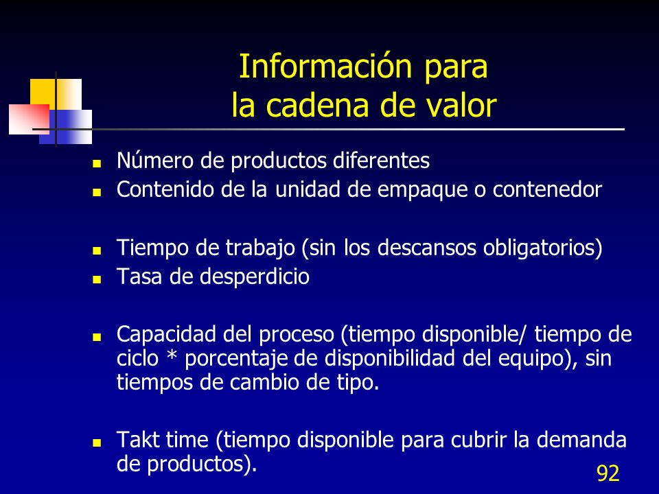 92 Información para la cadena de valor Número de productos diferentes Contenido de la unidad de empaque o contenedor Tiempo de trabajo (sin los descan