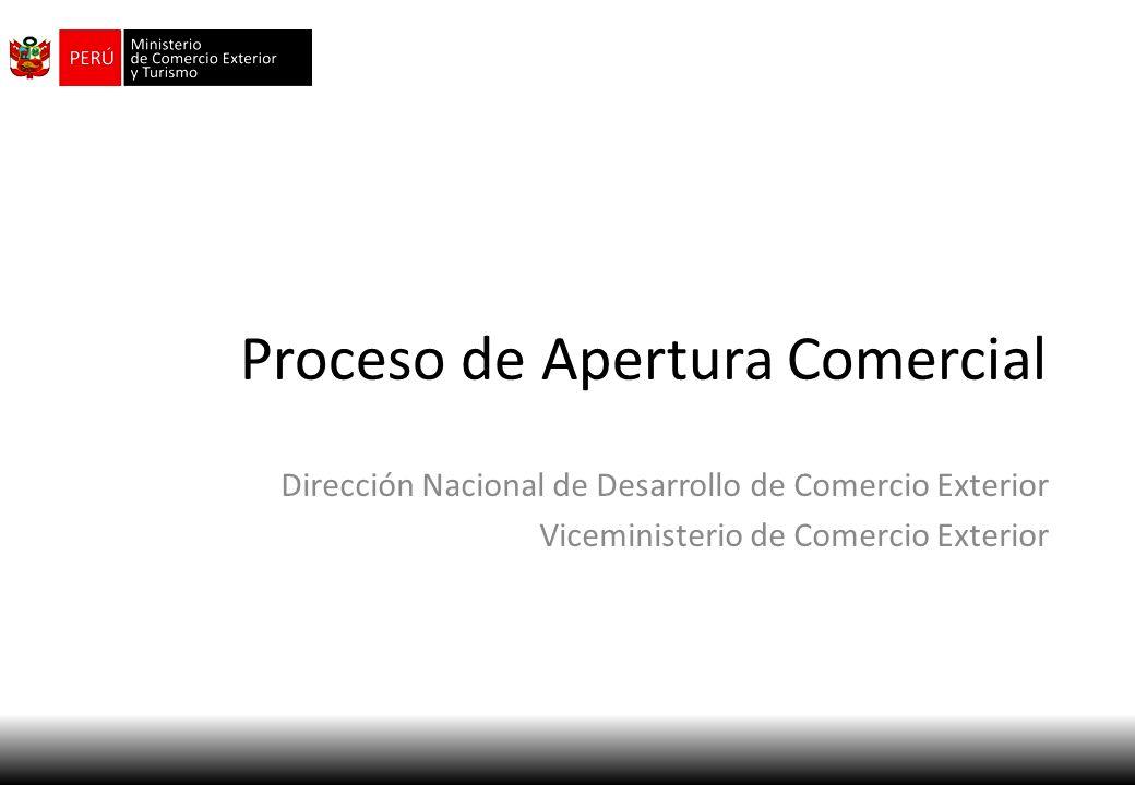 Proceso de Apertura Comercial Dirección Nacional de Desarrollo de Comercio Exterior Viceministerio de Comercio Exterior