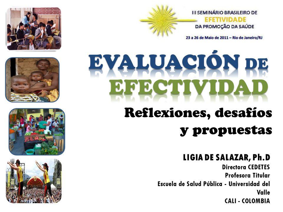 Reflexiones, desafíos y propuestas LIGIA DE SALAZAR, Ph.D Directora CEDETES Profesora Titular Escuela de Salud Pública - Universidad del Valle CALI -