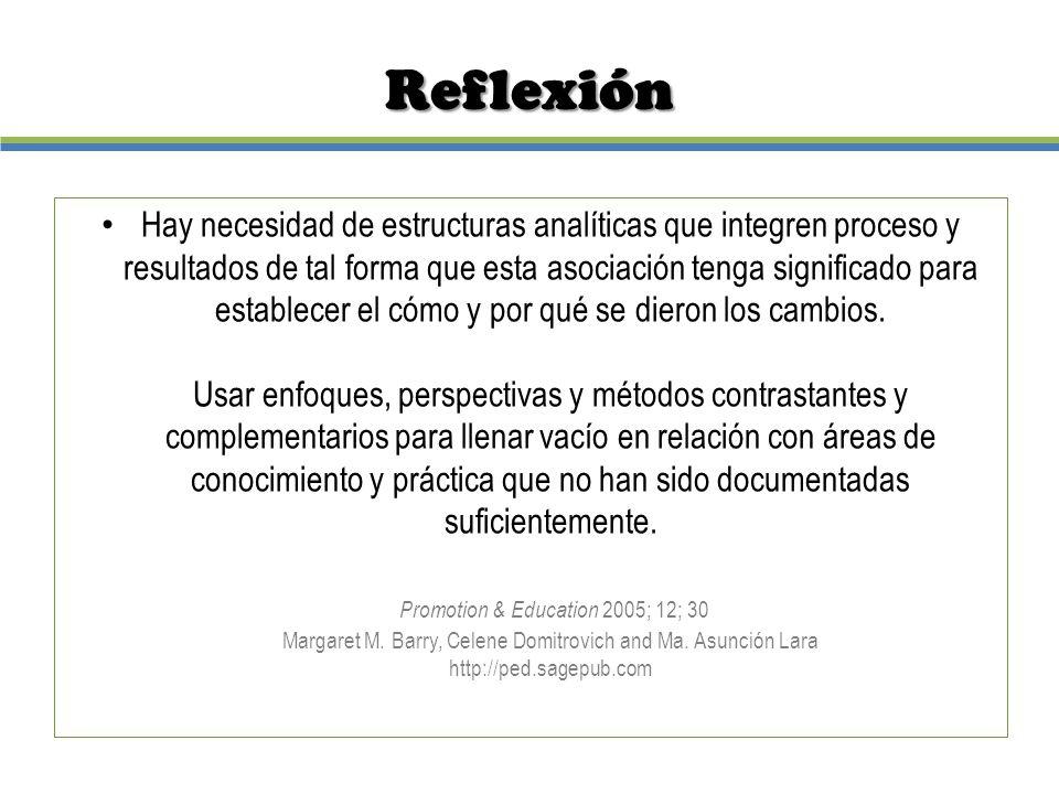 Reflexión Hay necesidad de estructuras analíticas que integren proceso y resultados de tal forma que esta asociación tenga significado para establecer