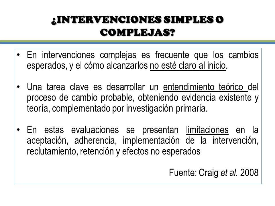 ¿INTERVENCIONES SIMPLES O COMPLEJAS? En intervenciones complejas es frecuente que los cambios esperados, y el cómo alcanzarlos no esté claro al inicio