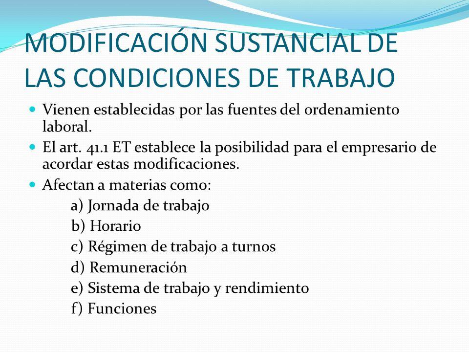 MODIFICACIÓN SUSTANCIAL DE LAS CONDICIONES DE TRABAJO Vienen establecidas por las fuentes del ordenamiento laboral. El art. 41.1 ET establece la posib