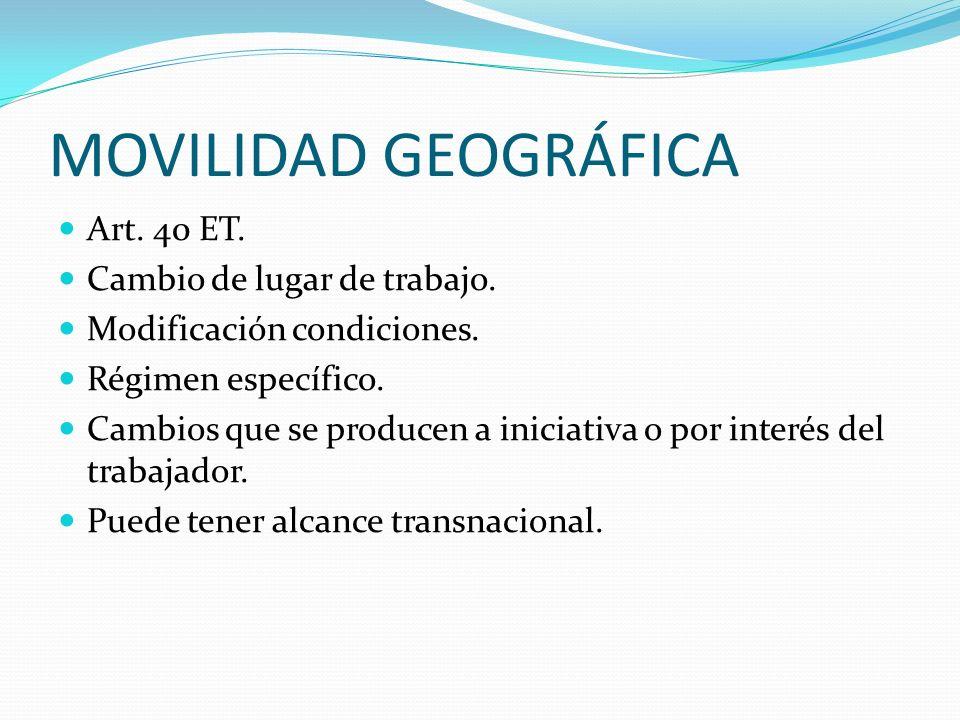 MOVILIDAD GEOGRÁFICA Art. 40 ET. Cambio de lugar de trabajo. Modificación condiciones. Régimen específico. Cambios que se producen a iniciativa o por