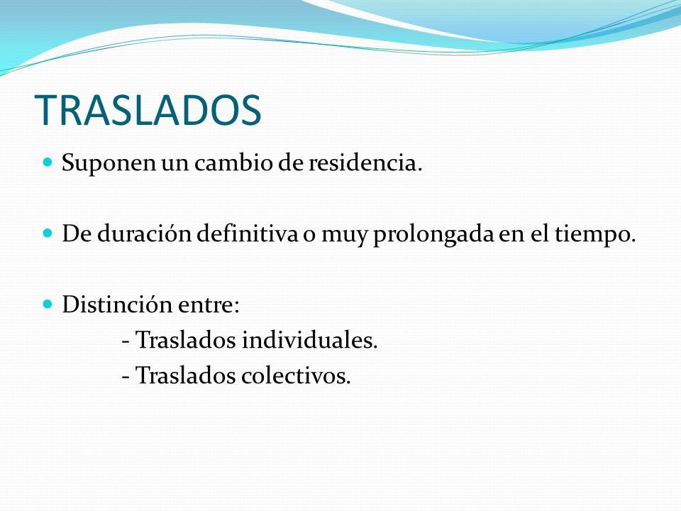 TRASLADOS Suponen un cambio de residencia. De duración definitiva o muy prolongada en el tiempo. Distinción entre: - Traslados individuales. - Traslad
