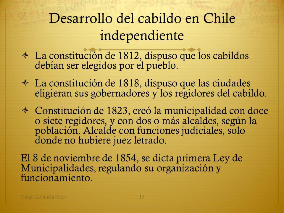 Desarrollo del cabildo en Chile independiente La constitución de 1812, dispuso que los cabildos debían ser elegidos por el pueblo. La constitución de