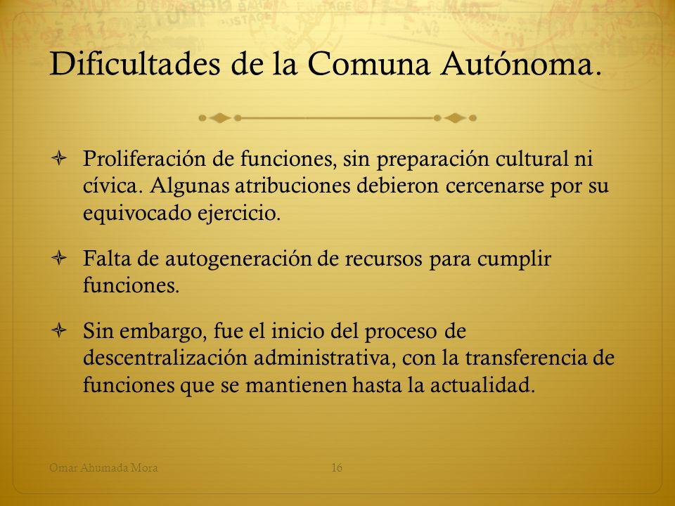 Dificultades de la Comuna Autónoma. Proliferación de funciones, sin preparación cultural ni cívica. Algunas atribuciones debieron cercenarse por su eq