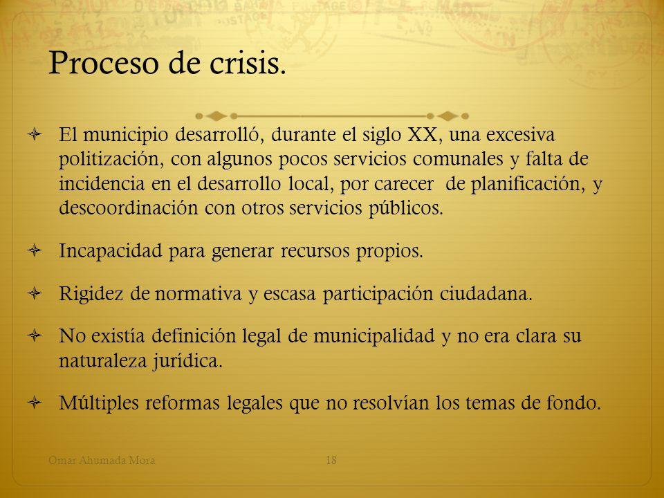 Proceso de crisis. El municipio desarrolló, durante el siglo XX, una excesiva politización, con algunos pocos servicios comunales y falta de incidenci