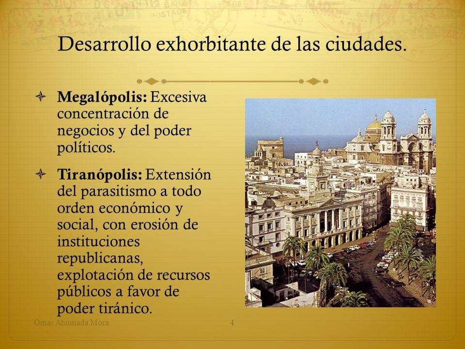 Desarrollo exhorbitante de las ciudades. Megalópolis: Excesiva concentración de negocios y del poder políticos. Tiranópolis: Extensión del parasitismo