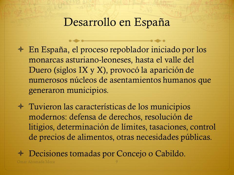 Desarrollo en España En España, el proceso repoblador iniciado por los monarcas asturiano-leoneses, hasta el valle del Duero (siglos IX y X), provocó