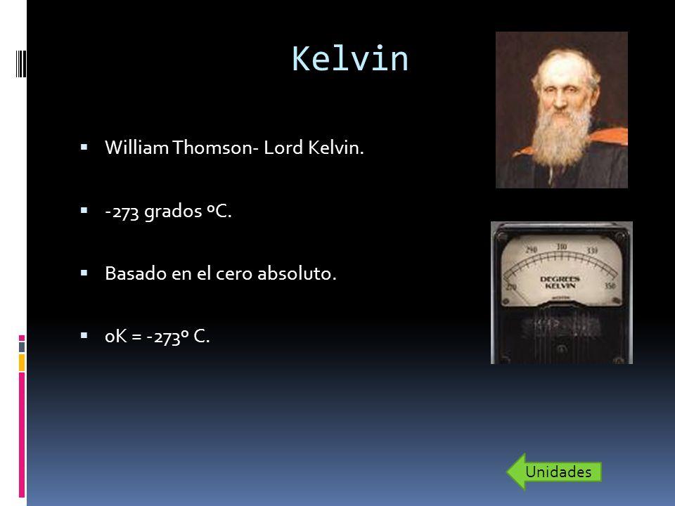 Kelvin William Thomson- Lord Kelvin. -273 grados ºC. Basado en el cero absoluto. 0K = -273º C. Unidades