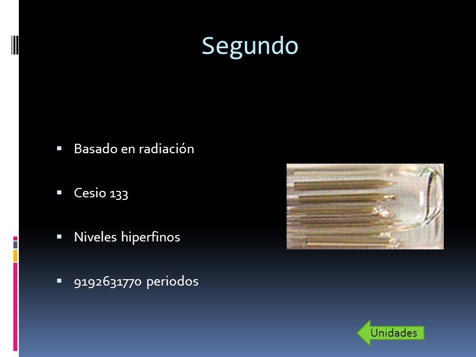 Segundo Basado en radiación Cesio 133 Niveles hiperfinos 9192631770 periodos Unidades