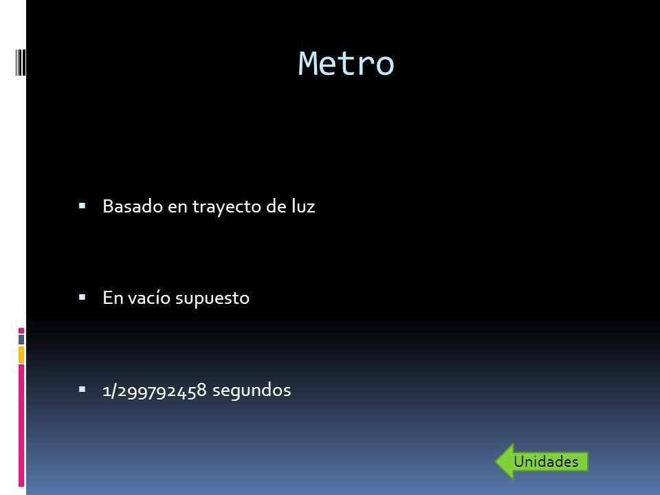 Metro Basado en trayecto de luz En vacío supuesto 1/299792458 segundos Unidades