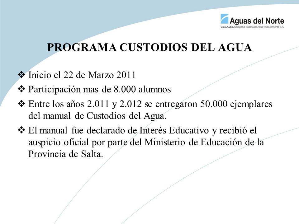 PROGRAMA CUSTODIOS DEL AGUA Inicio el 22 de Marzo 2011 Participación mas de 8.000 alumnos Entre los años 2.011 y 2.012 se entregaron 50.000 ejemplares
