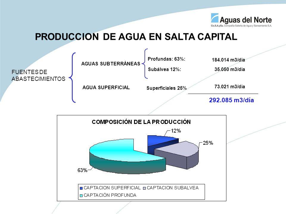 Superficiales 25% AGUAS SUBTERRÁNEAS FUENTES DE ABASTECIMIENTOS Profundas: 63%: Subálvea 12%: 73.021 m3/día 35.050 m3/día 184.014 m3/día 292.085 m3/dí