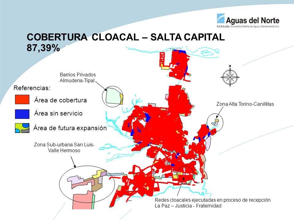 COBERTURA CLOACAL – SALTA CAPITAL 87,39% Zona Sub-urbana San Luis- Valle Hermoso Zona Alta Torino-Canillitas Barrios Privados Almudena-Tipal Redes clo