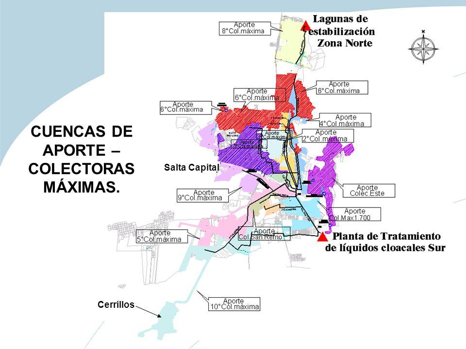 Salta Capital Cerrillos CUENCAS DE APORTE – COLECTORAS MÁXIMAS.