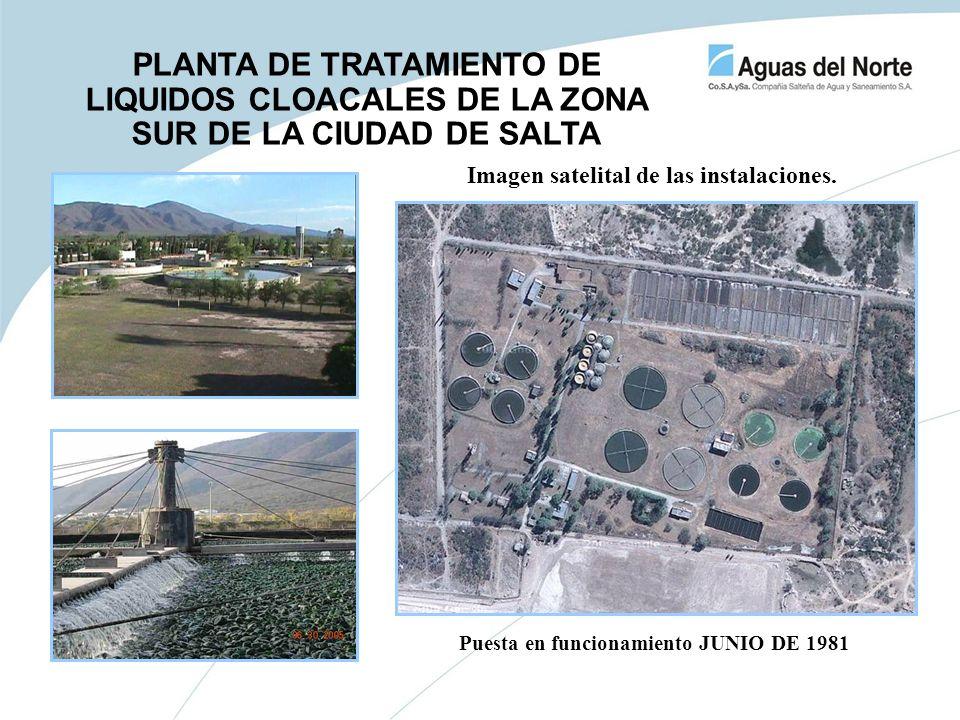 Imagen satelital de las instalaciones. Puesta en funcionamiento JUNIO DE 1981 PLANTA DE TRATAMIENTO DE LIQUIDOS CLOACALES DE LA ZONA SUR DE LA CIUDAD