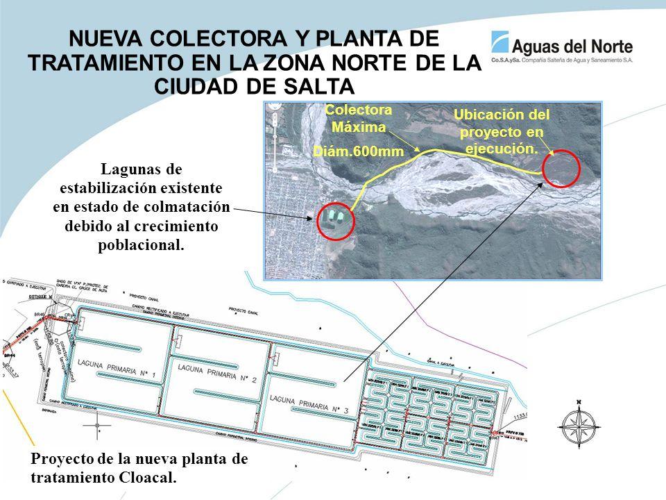 Lagunas de estabilización existente en estado de colmatación debido al crecimiento poblacional. Ubicación del proyecto en ejecución. Proyecto de la nu