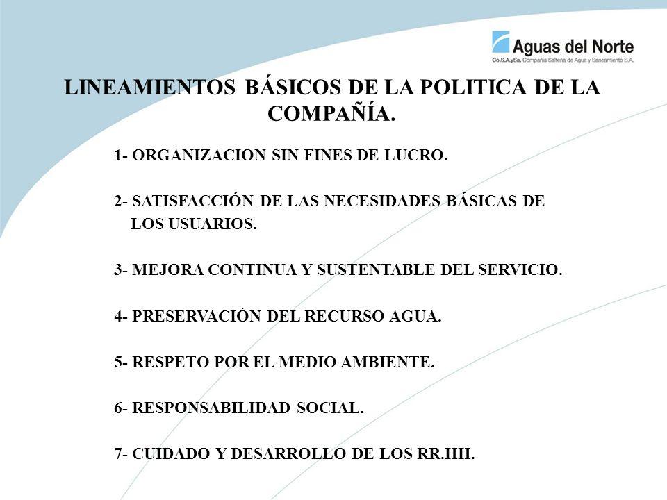 1- ORGANIZACION SIN FINES DE LUCRO. 2- SATISFACCIÓN DE LAS NECESIDADES BÁSICAS DE LOS USUARIOS. 3- MEJORA CONTINUA Y SUSTENTABLE DEL SERVICIO. 4- PRES