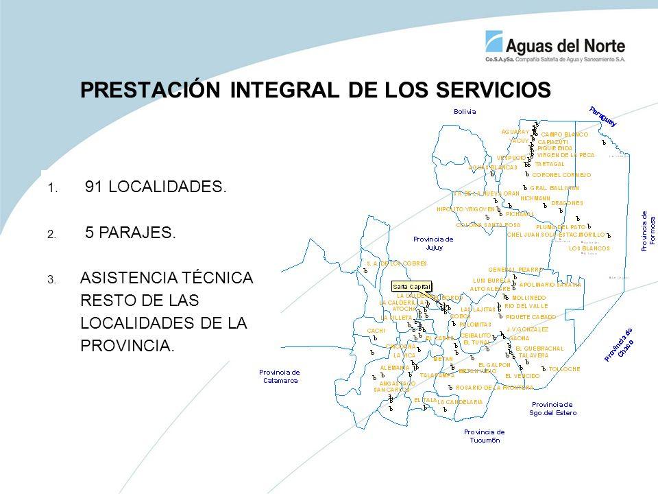 PRESTACIÓN INTEGRAL DE LOS SERVICIOS 1. 91 LOCALIDADES. 2. 5 PARAJES. 3. ASISTENCIA TÉCNICA RESTO DE LAS LOCALIDADES DE LA PROVINCIA.