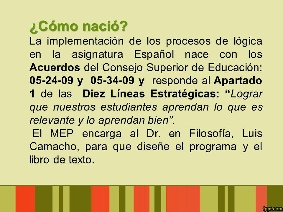 ¿Cómo nació? La implementación de los procesos de lógica en la asignatura Español nace con los Acuerdos del Consejo Superior de Educación: 05-24-09 y