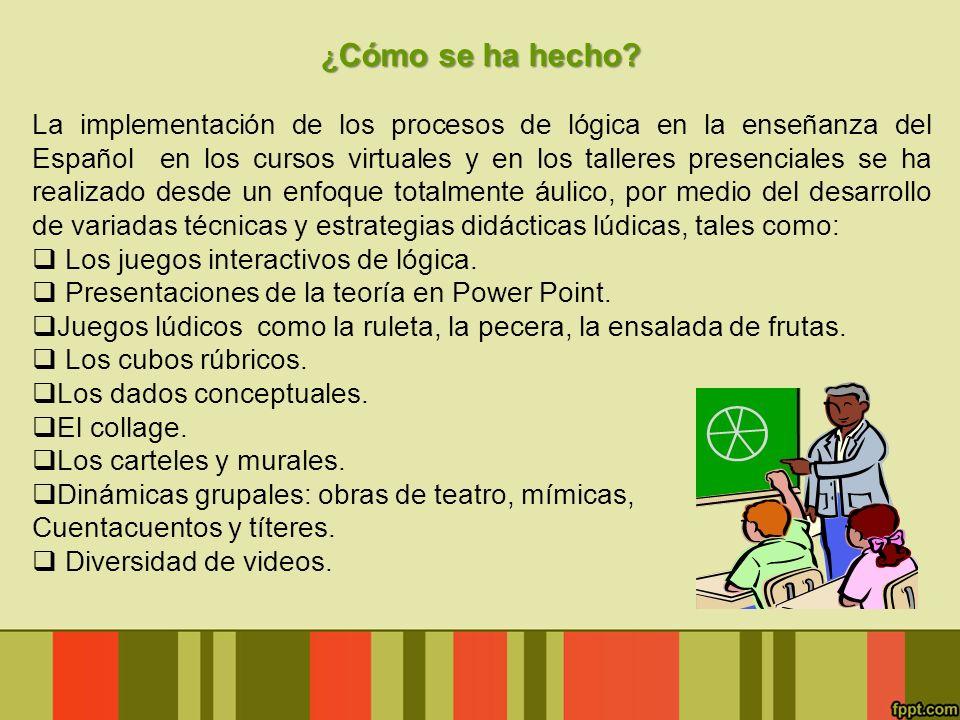 ¿ Cómo se ha hecho? La implementación de los procesos de lógica en la enseñanza del Español en los cursos virtuales y en los talleres presenciales se