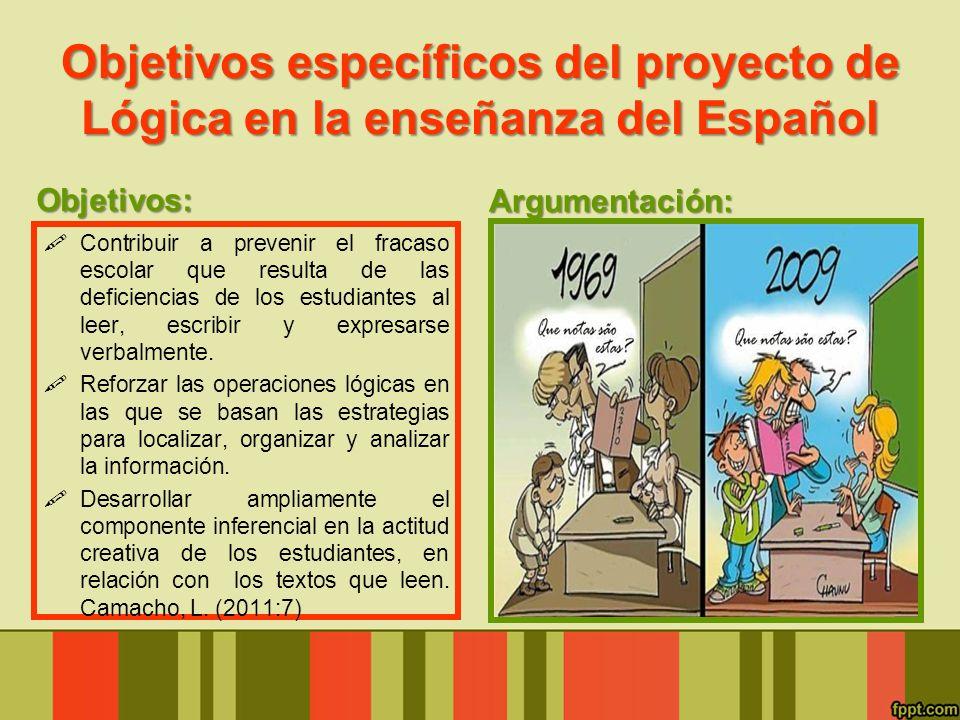 Objetivos específicos del proyecto de Lógica en la enseñanza del Español Objetivos: Contribuir a prevenir el fracaso escolar que resulta de las defici