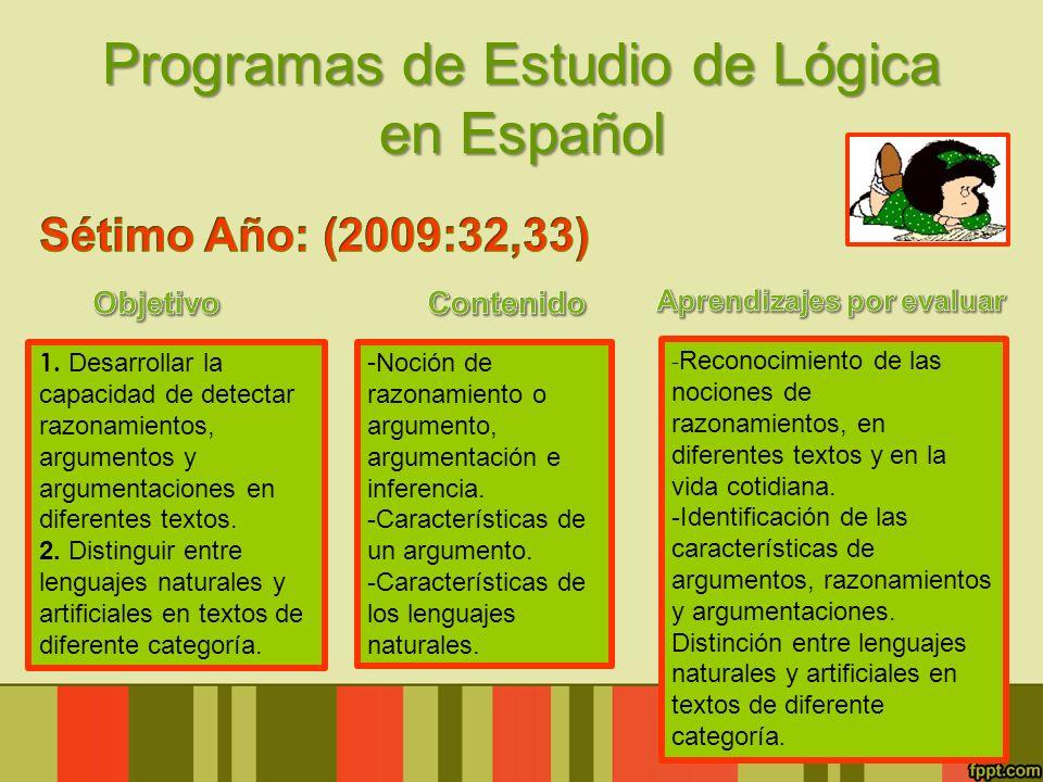 Programas de Estudio de Lógica en Español 1. Desarrollar la capacidad de detectar razonamientos, argumentos y argumentaciones en diferentes textos. 2.