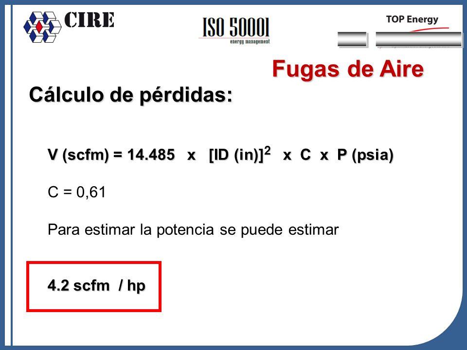 Cálculo de pérdidas: V (scfm) = 14.485 x [ID (in)] 2 x C x P (psia) C = 0,61 Para estimar la potencia se puede estimar 4.2 scfm / hp Fugas de Aire
