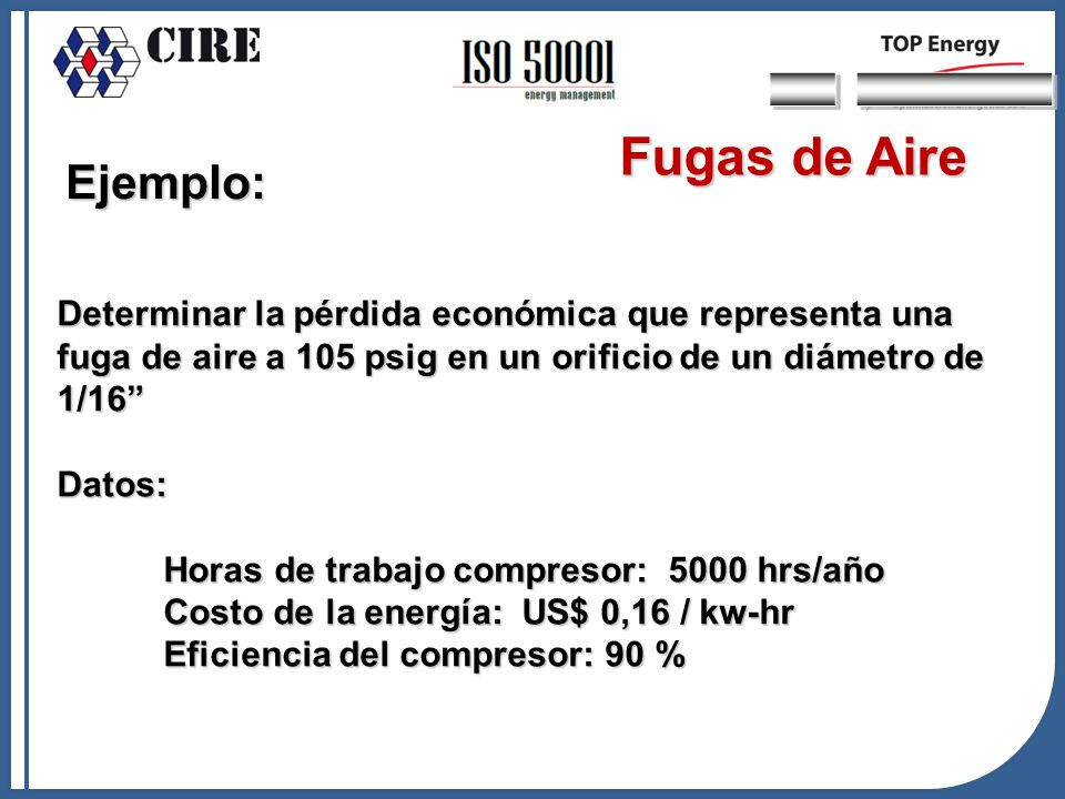 Ejemplo: Determinar la pérdida económica que representa una fuga de aire a 105 psig en un orificio de un diámetro de 1/16 Datos: Horas de trabajo comp