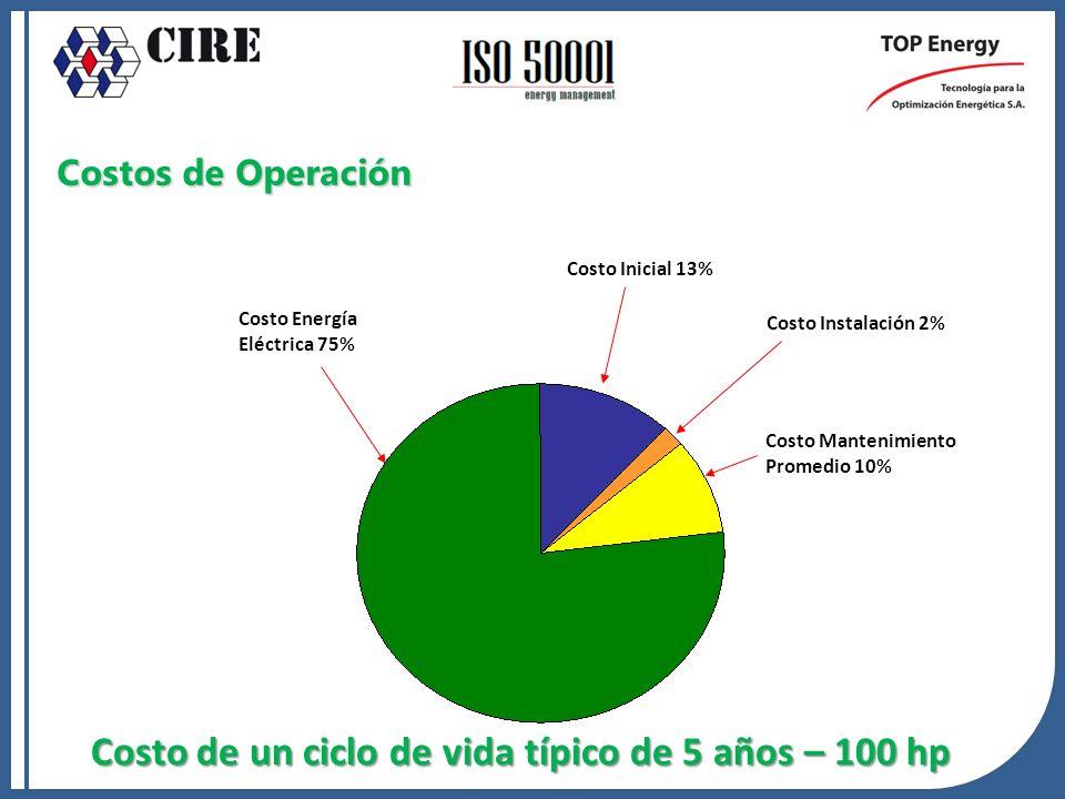 Costos de Operación Costo de un ciclo de vida típico de 5 años – 100 hp Costo Energía Eléctrica 75% Costo Instalación 2% Costo Mantenimiento Promedio